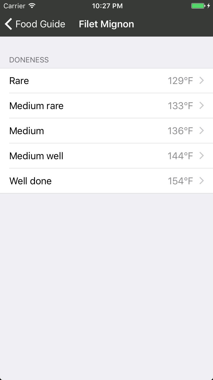 select temperature screenshot