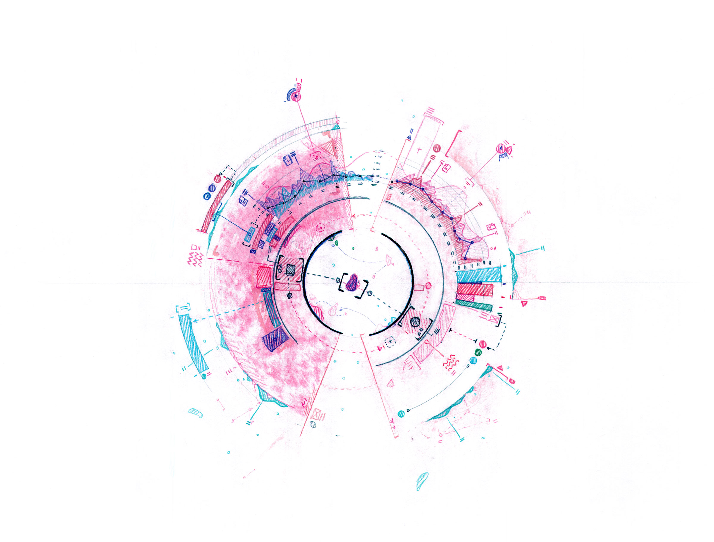 A illustration with pinks, blues, teals, and greens depicting a radial graph with various bar, line and dot charts surrounding the circle. Around the outside are scribbled call-outs, shapes and more lines in an abstract representation of data.