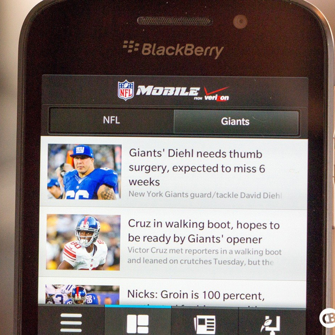 A Blackberry phone displaying the NFL app