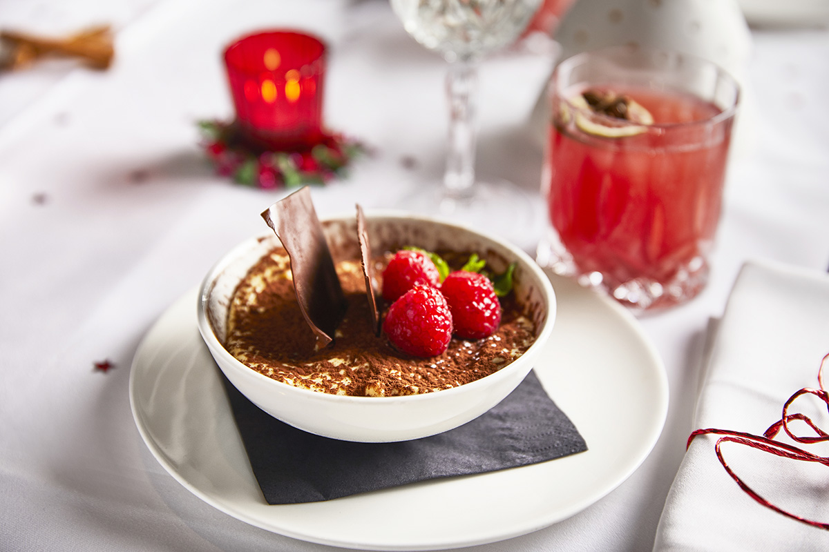 Christmas Special Menu: Our Tiramisu Traditional Recipe with Chocolate Flakes and Fresh Raspberries