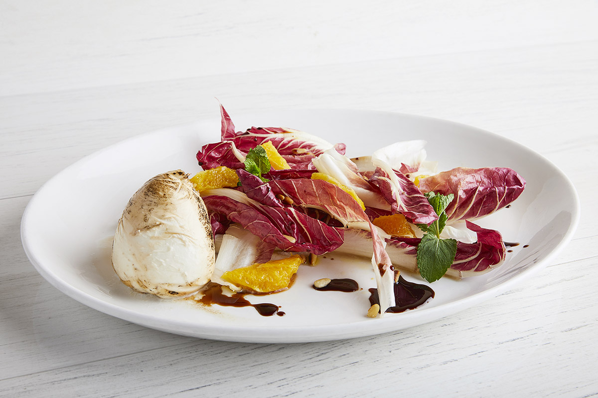 Salad with Late-Growing Red Trevisano Radicchio and Smoked Burrata