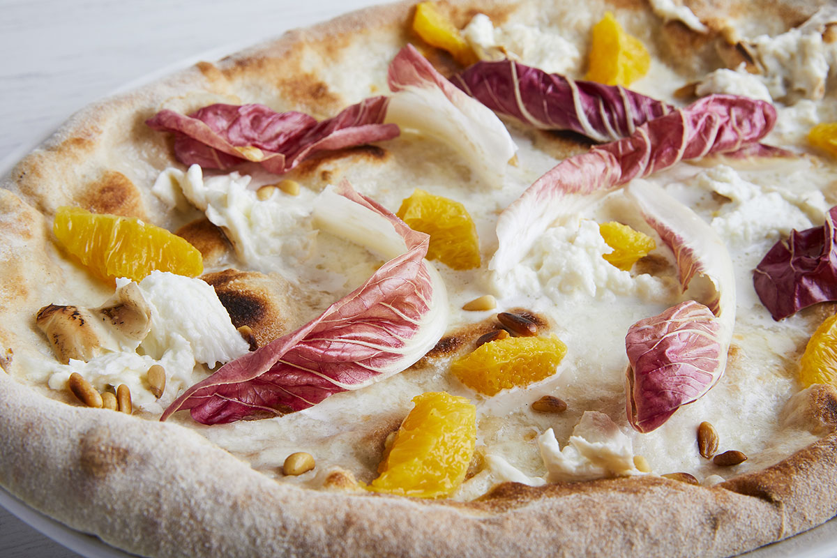 Pizza with Late-Growing Red Trevisano Radicchio and Smoked Burrata