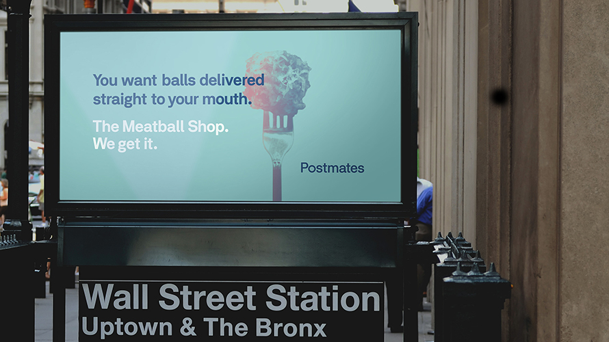 Postmates, ad, food, delivery, billboard