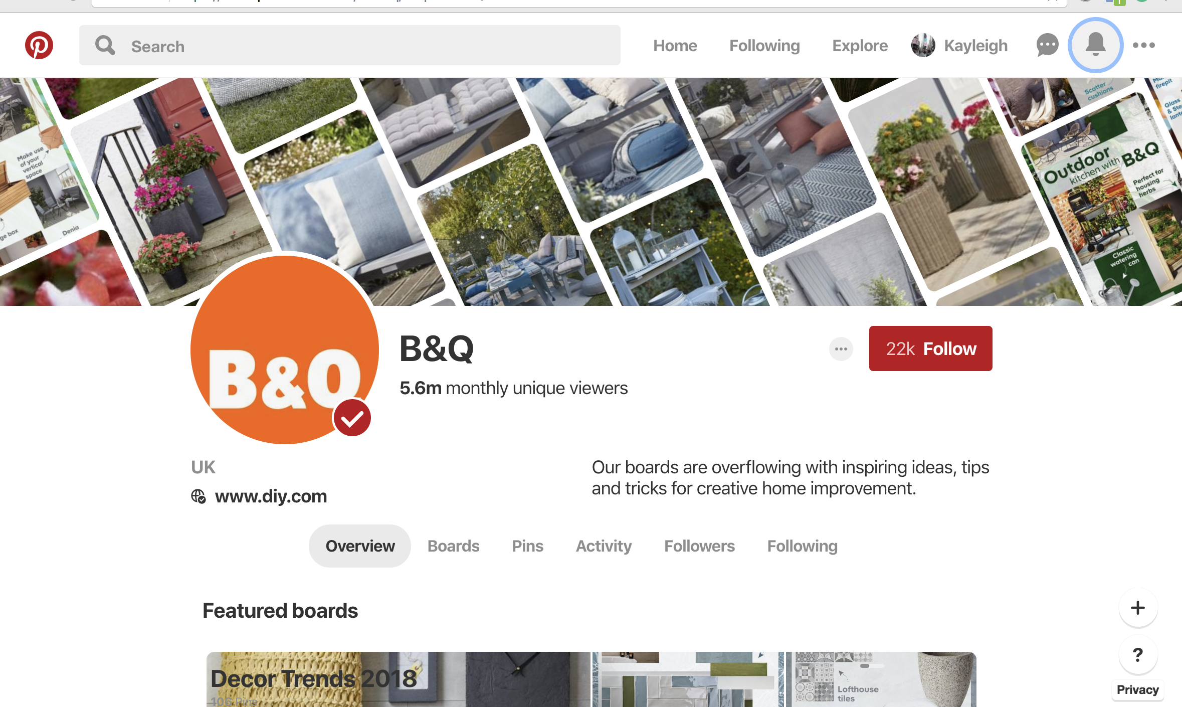 B&Q, Pinterest, Marketing, Social Profile,