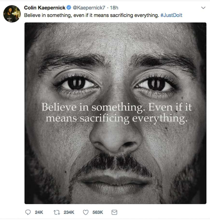 Nike, Kaepernick, marketing, social media, twitter