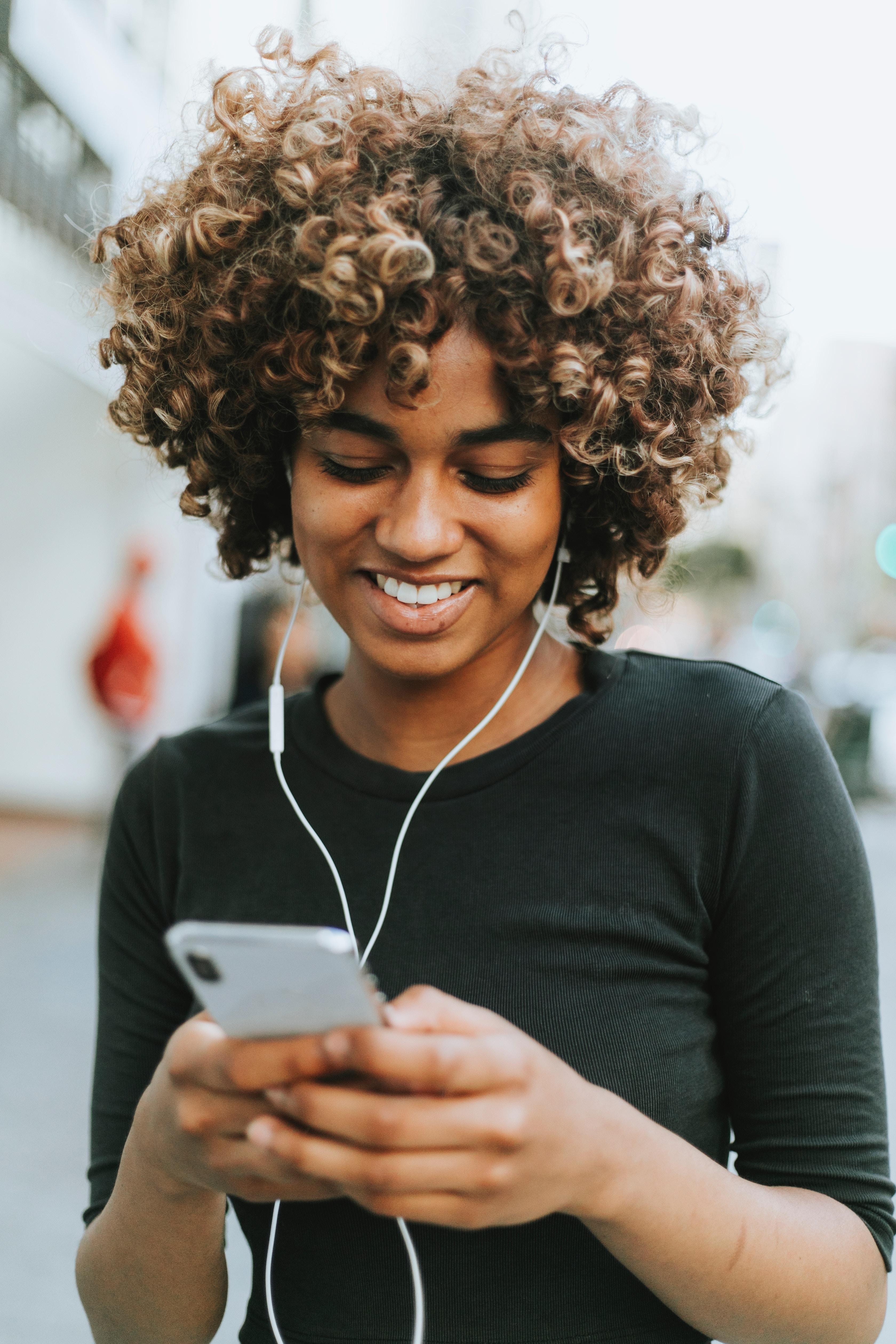 happy, women, smile, earphones, working, music, listen
