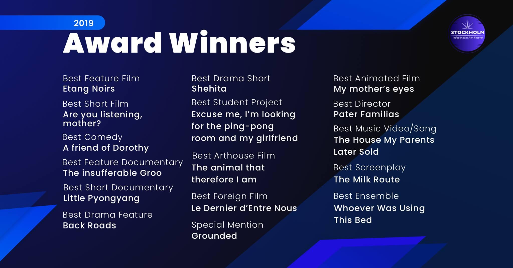 SIFF 2019 Award Winners