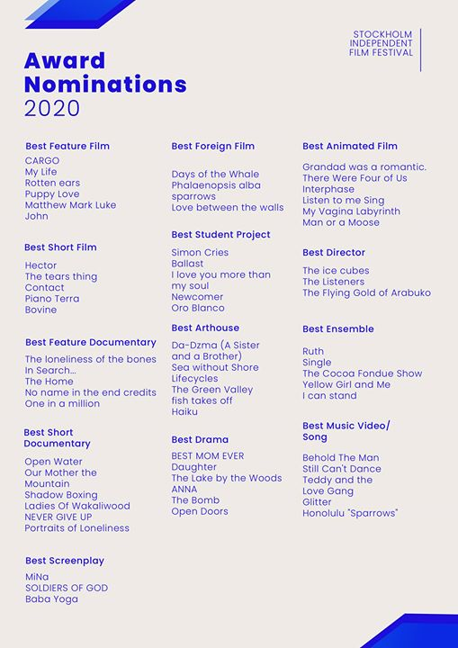 2020 Award Nominations