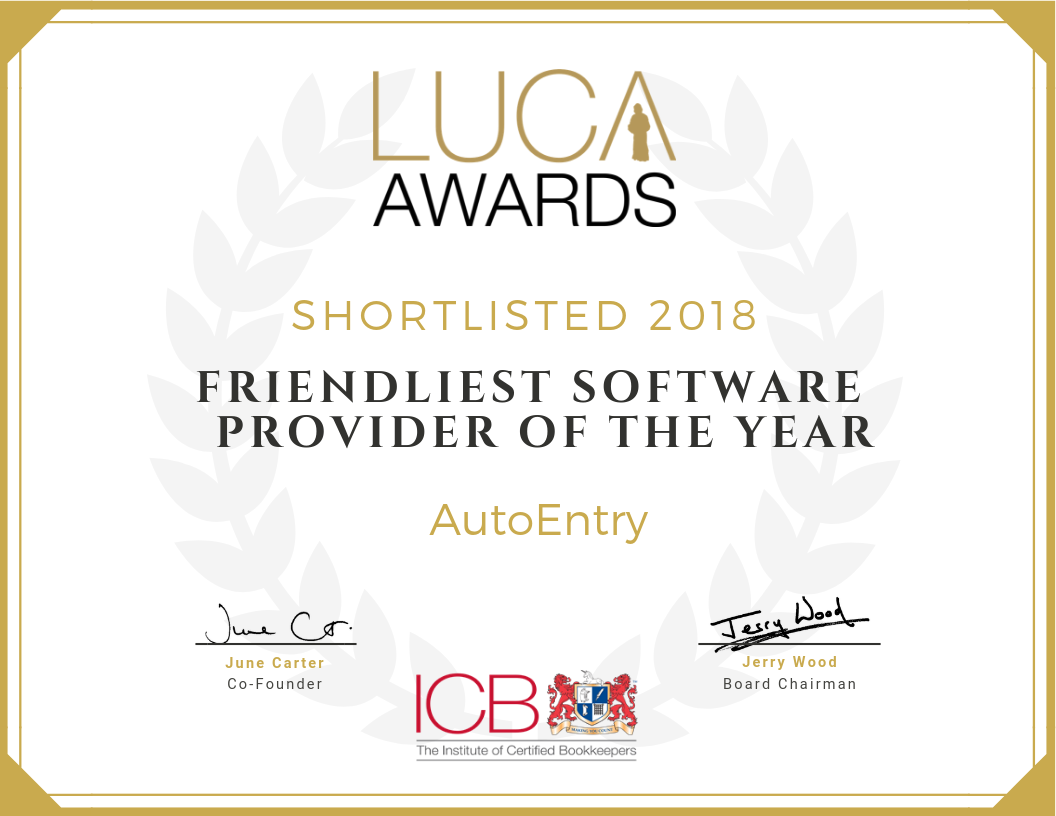 Shortlisted Friendliest Software Provider of the Year Luca Awards  2018