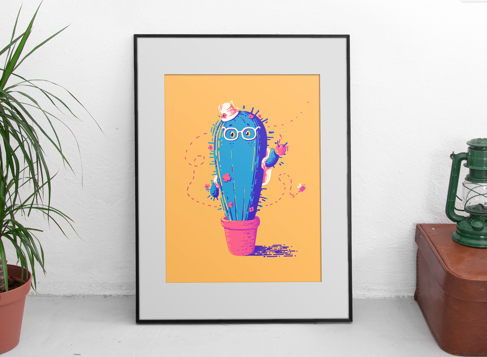 Blue cactus in a pink pot and a yellow background with an apple stuck in his spike hand. He is wearing glasses and has a tiny flower hat.