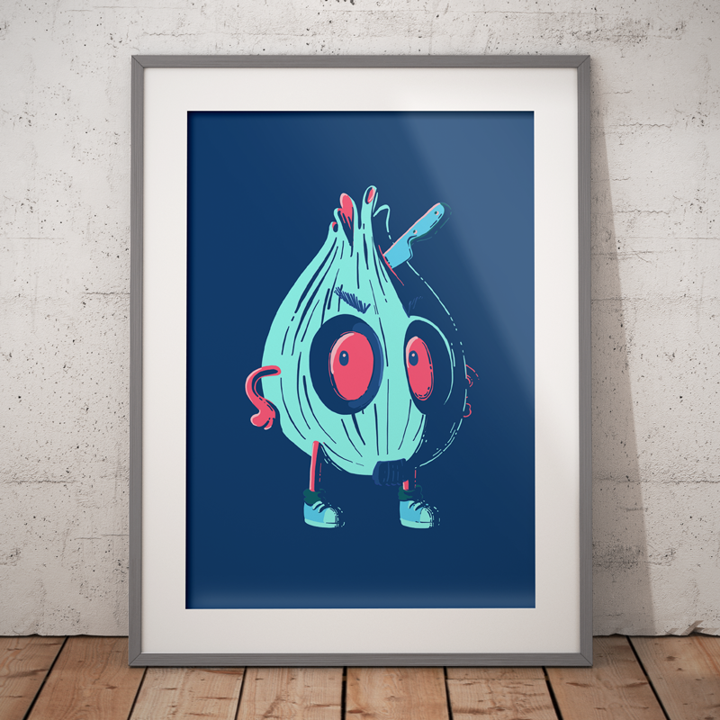 Angry onion illustration on a navy background and light blue plant