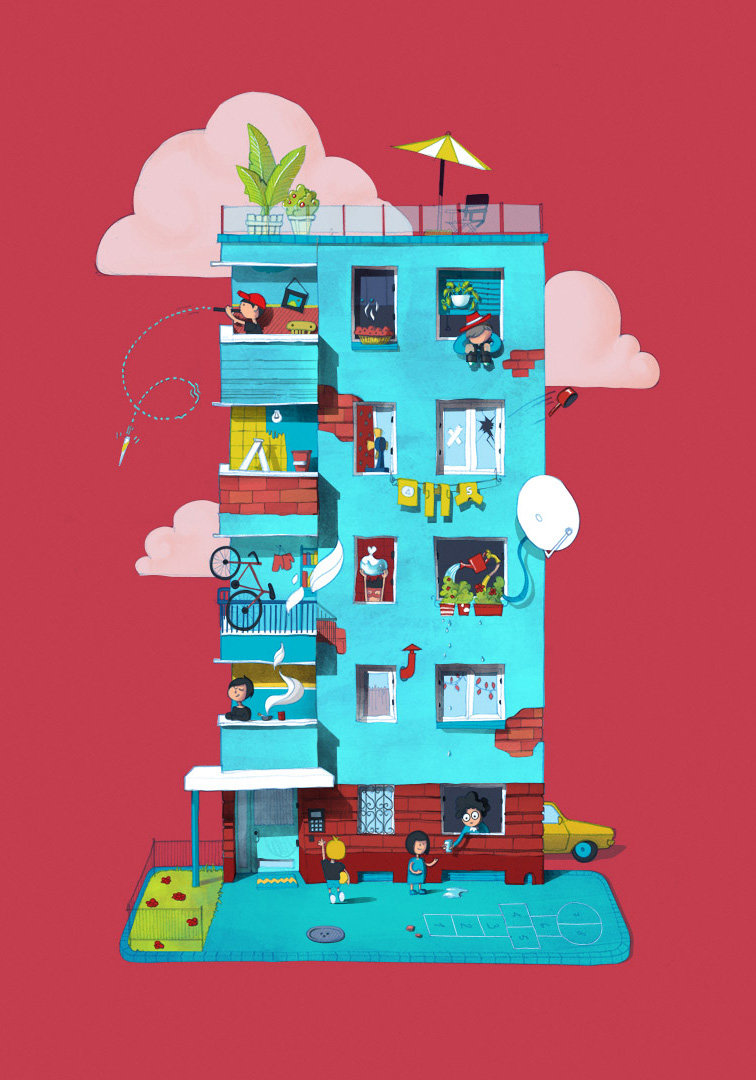 Personal illustration of an apartment building from Bucharest, with all the right neighbors and amenities.