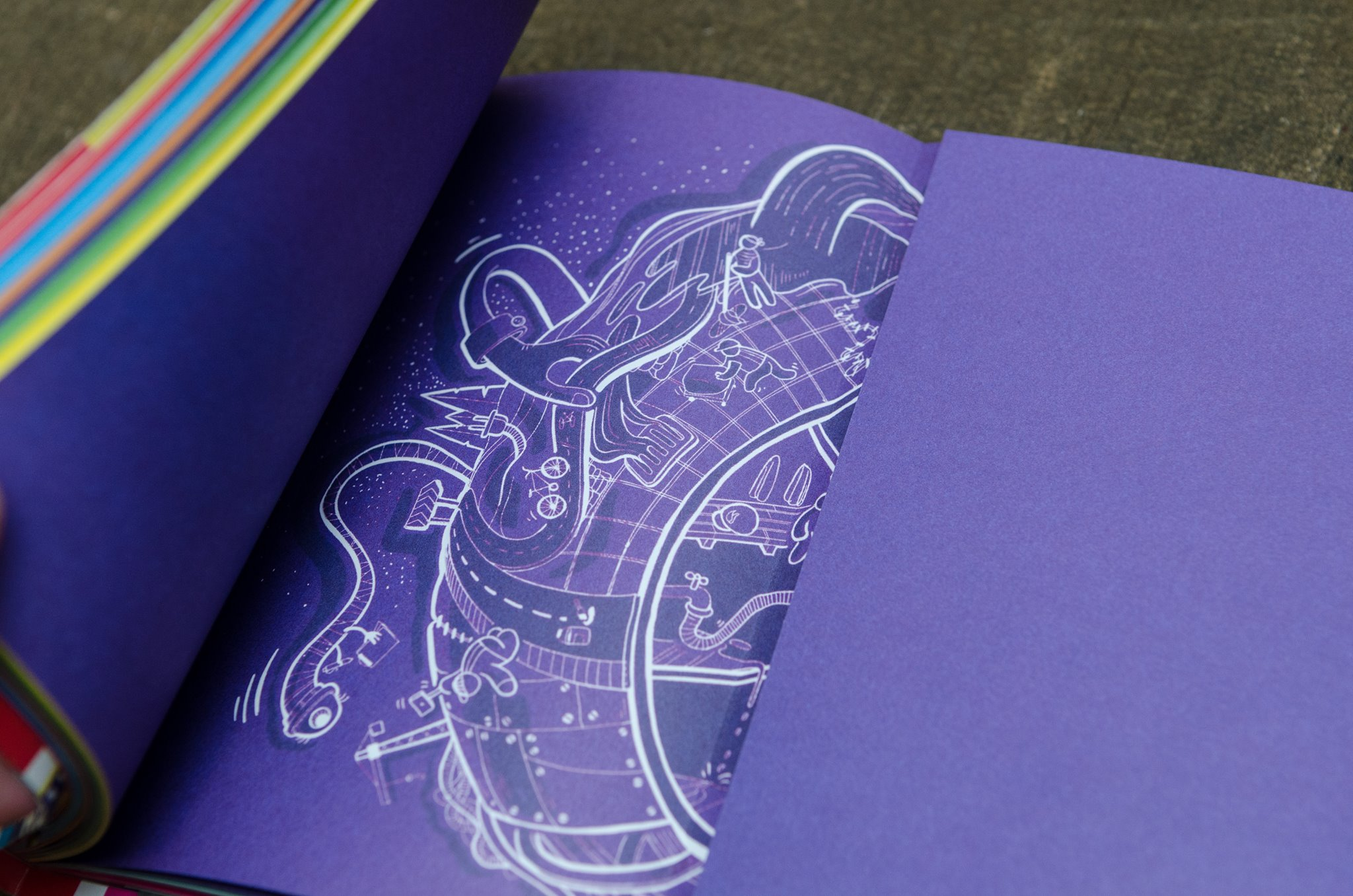 Funk Citizens Constitution for school children, illustration done by raluca mitarca on dark purple backgroun