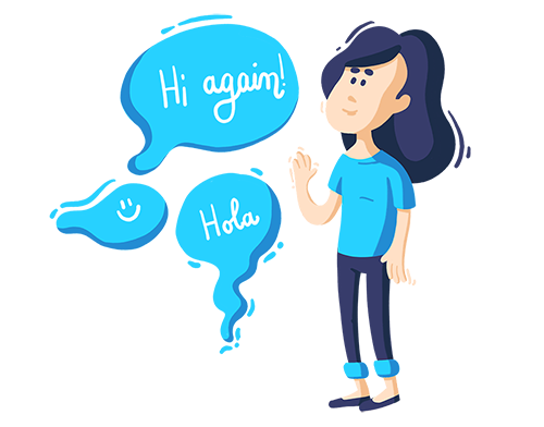 Cartoon Girl wearing a blue t-shirt waving hello to three speech bubbles with welcoming messages