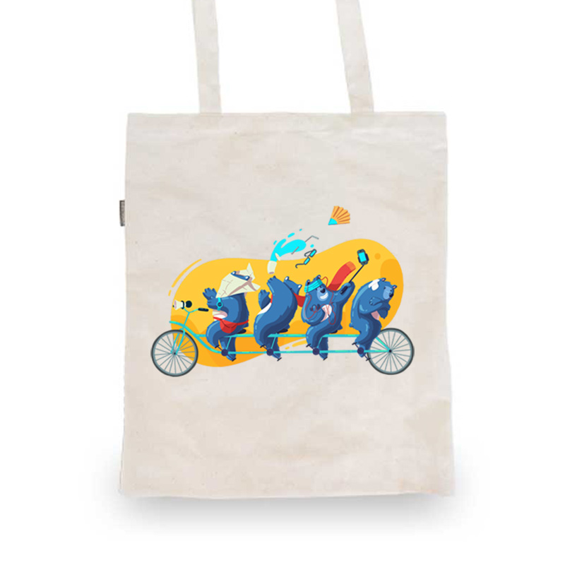 Totebag with a drawing of bears on a multibike