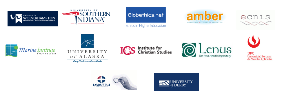 Open Repository client logo collage listing University of Wolverhampton, University of Southern Indiana, Globethics.net, Ambulance Research Repository, ECNIS, Marine Institute, University of Alaska, ICS Institute for Christian Studies, LENUS the Irish Health Repository, UPC Peru, LSH Landspitali and University of Derby