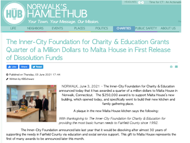 The Inner-City Foundation for Charity and Education Grants Quarter of a Million Dollars to Malta House in First Release of Dissolution of Funds