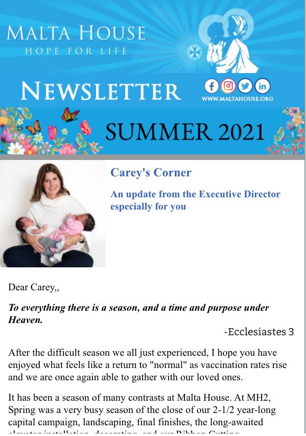 Malta House Summer Newsletter 2021