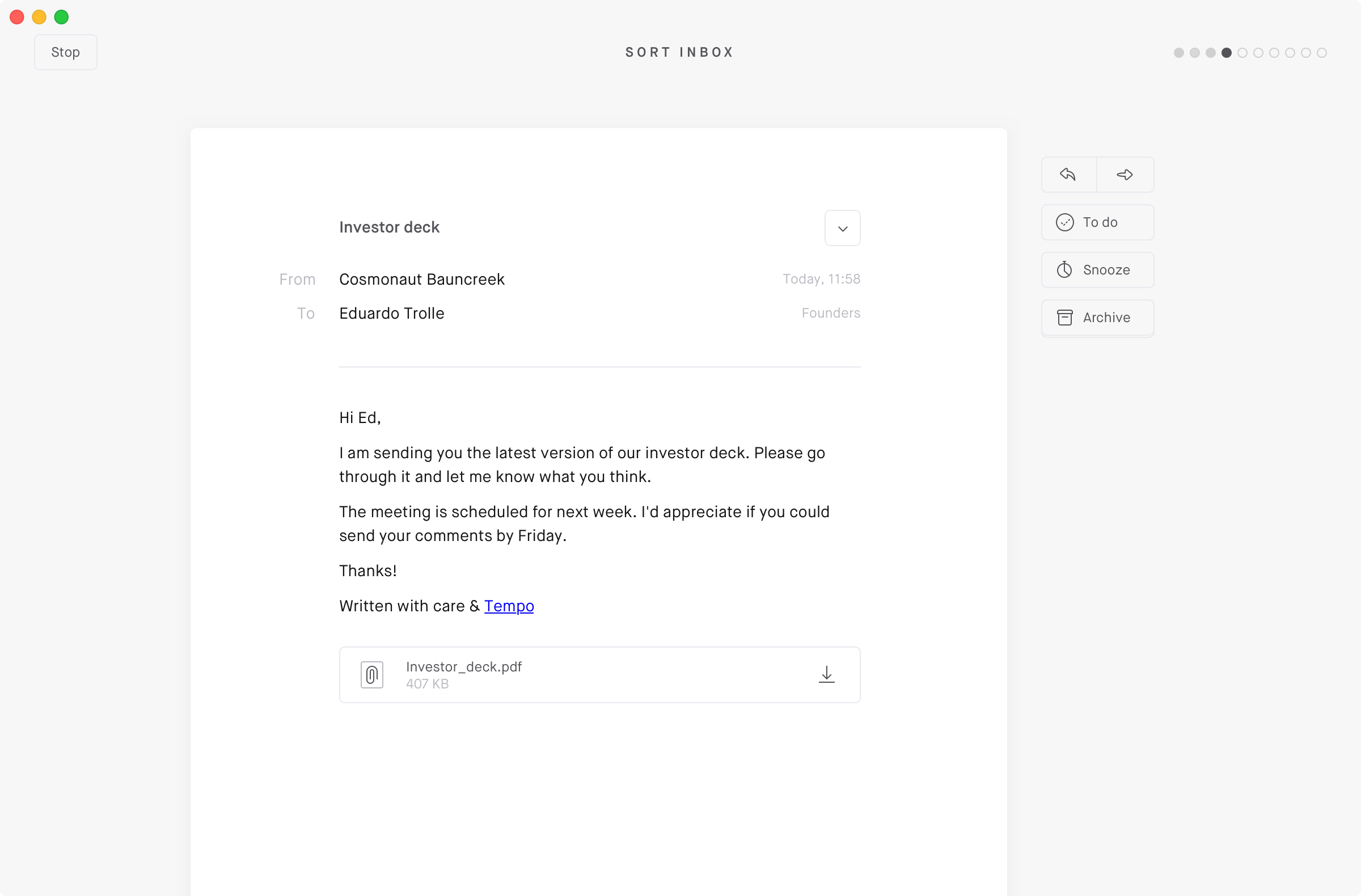 Focus sort inbox feature in the Tempo desktop email client
