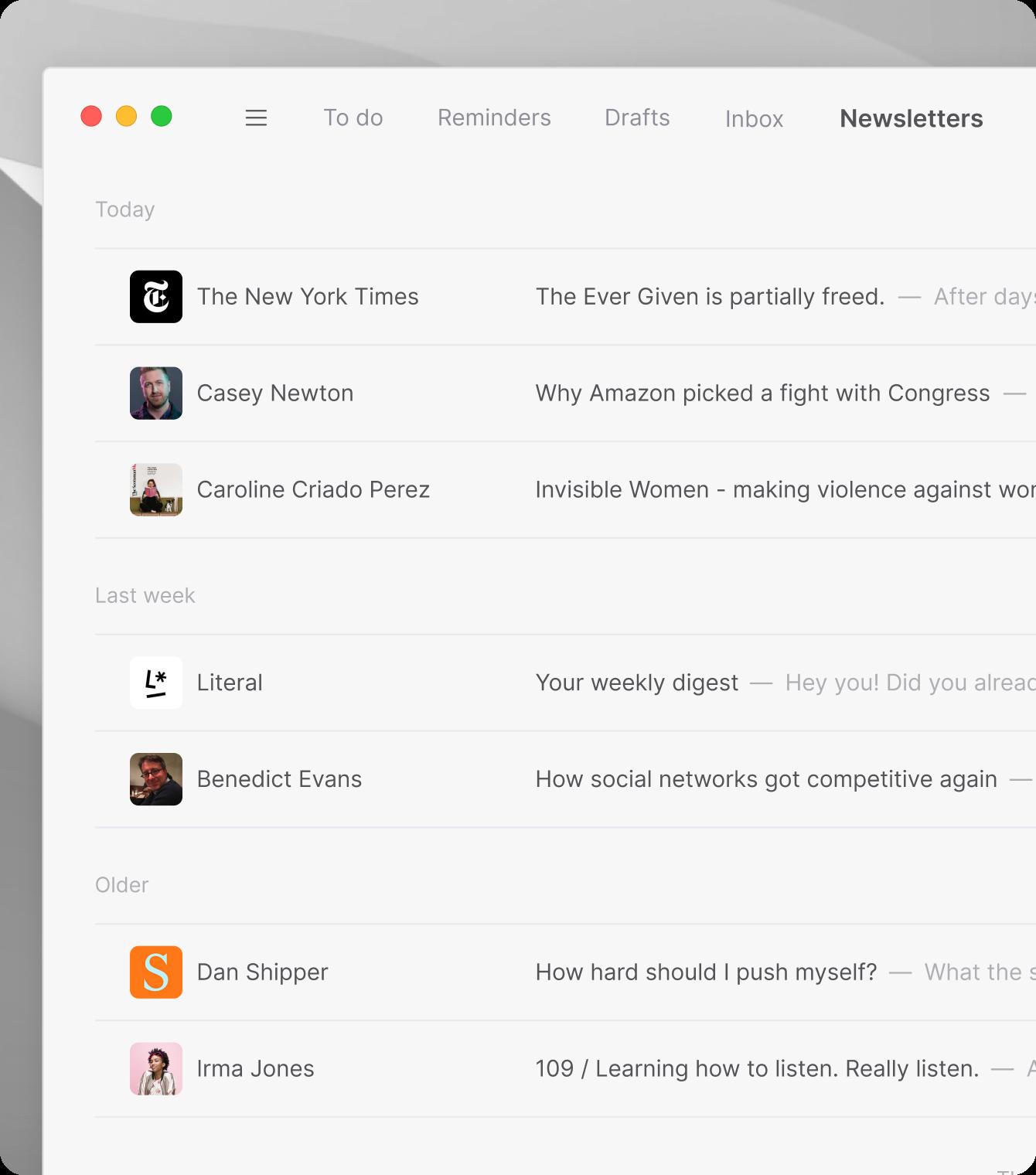 Focus sort inbox feature in the Tempo desktop email client