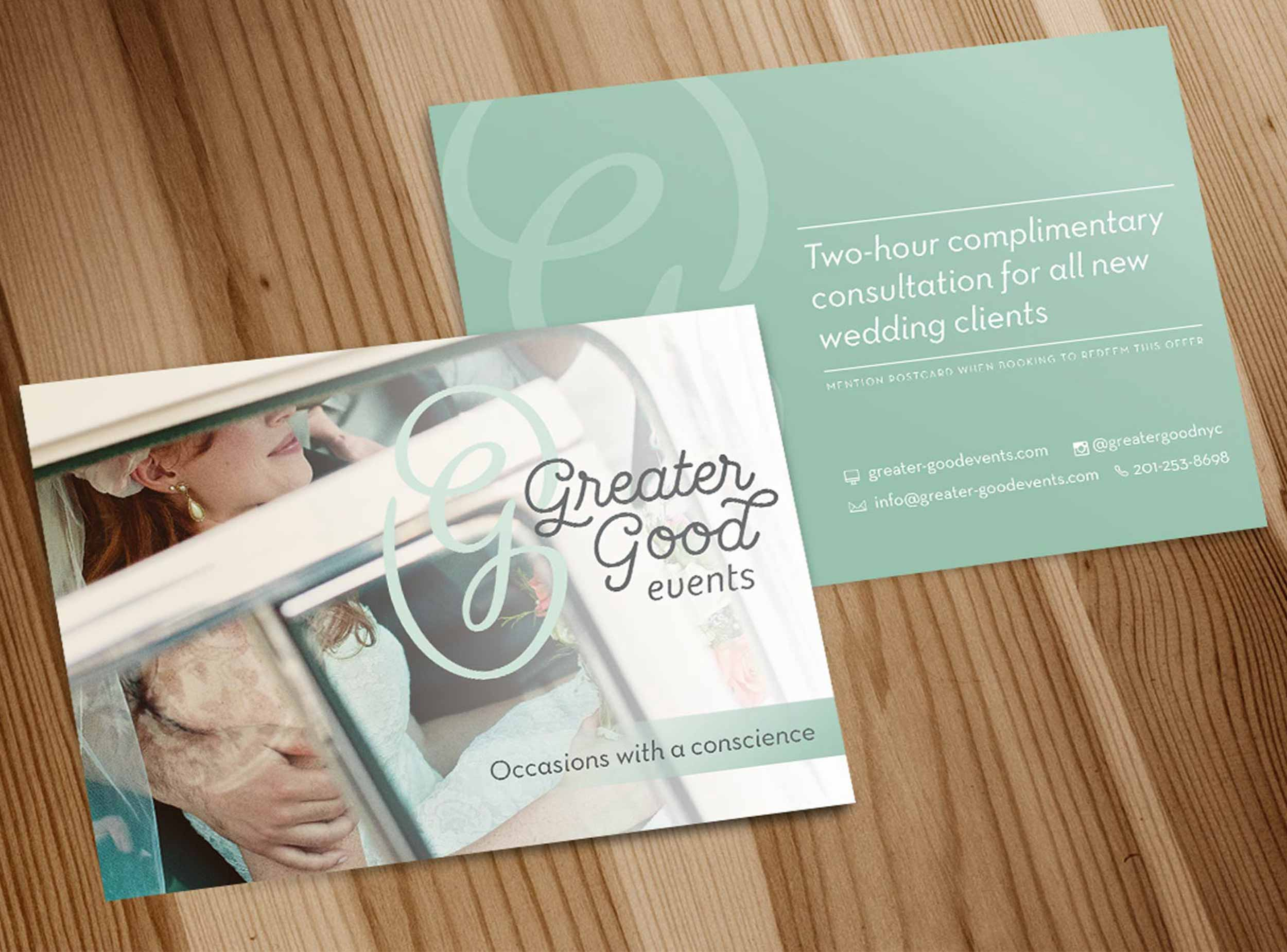 Greater Good Events' postcard design.