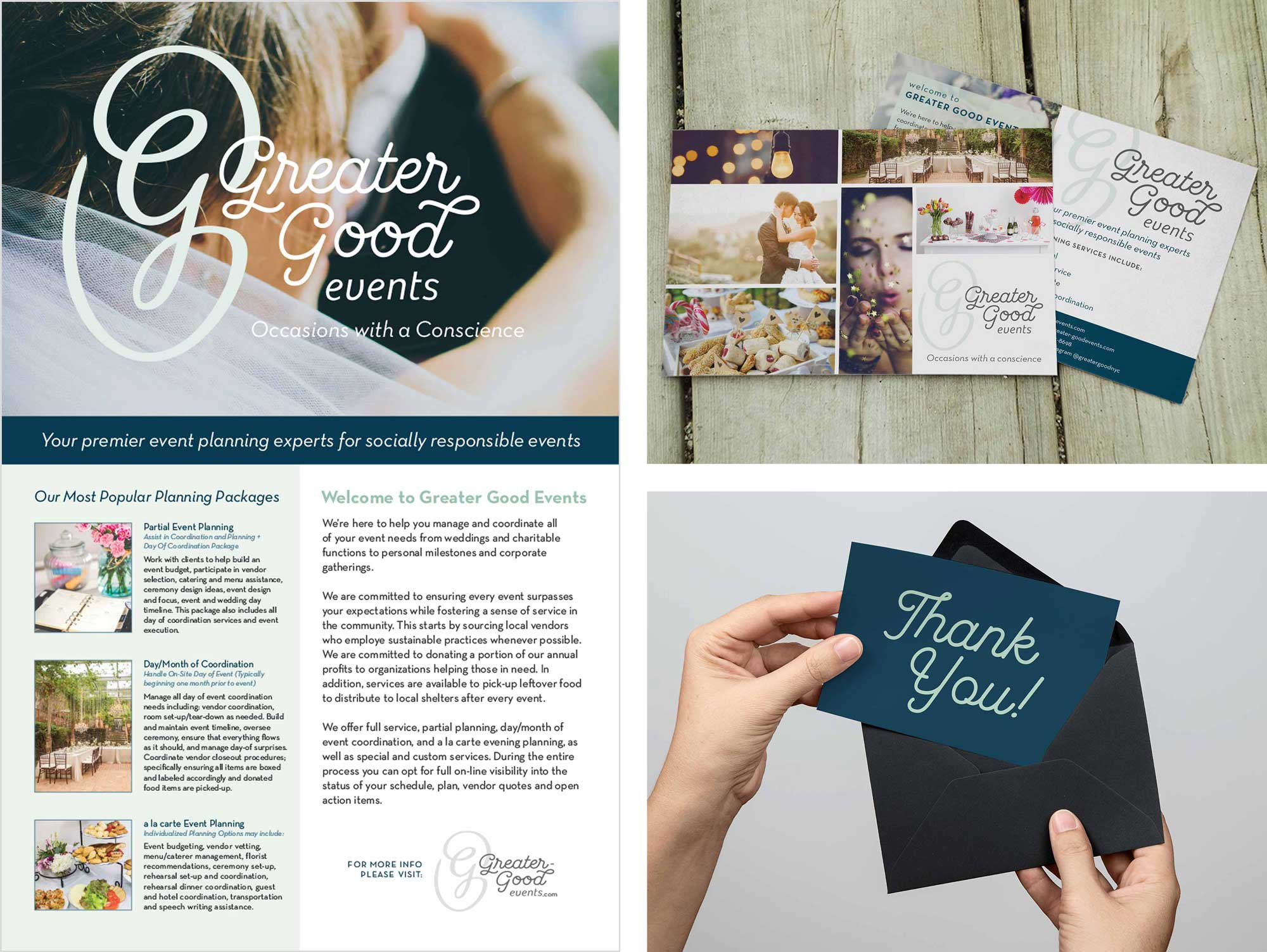 Greater Good Events poster, postcards, and thank you card designs.