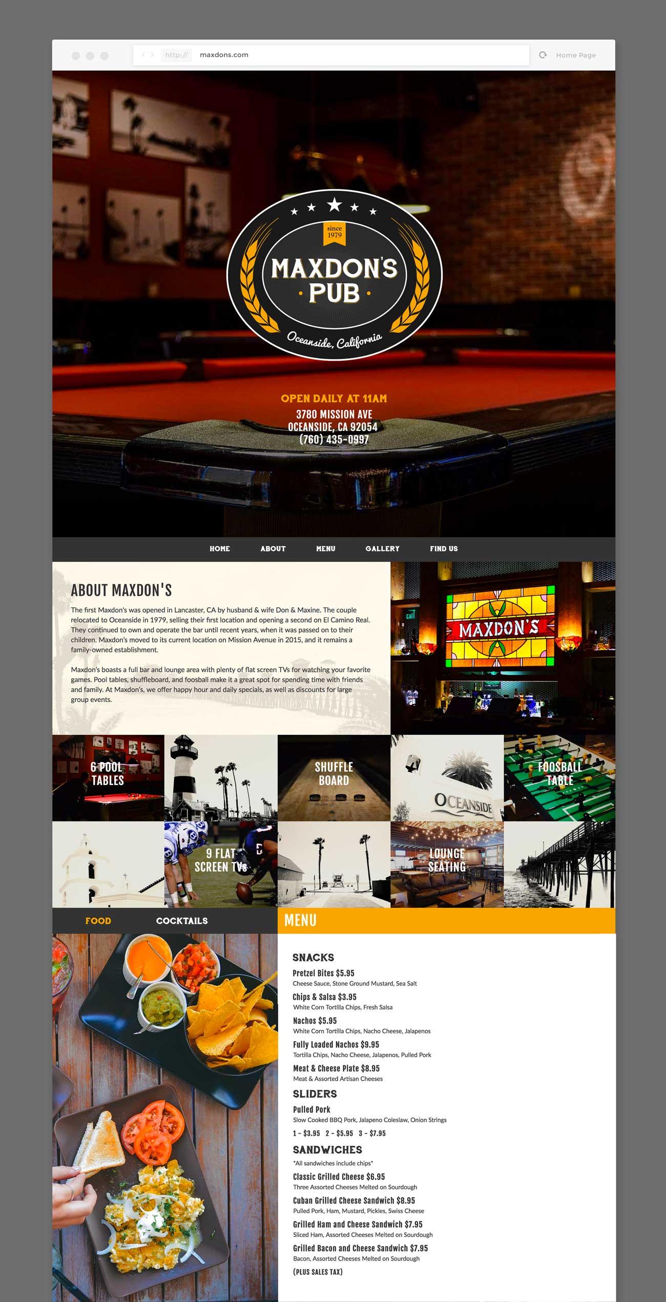Screenshot of the Maxdon's Pub homepage.