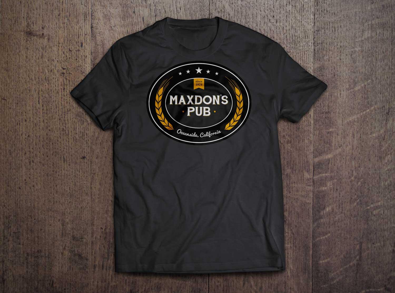 Maxdon's Pub logo on a black t-shirt.