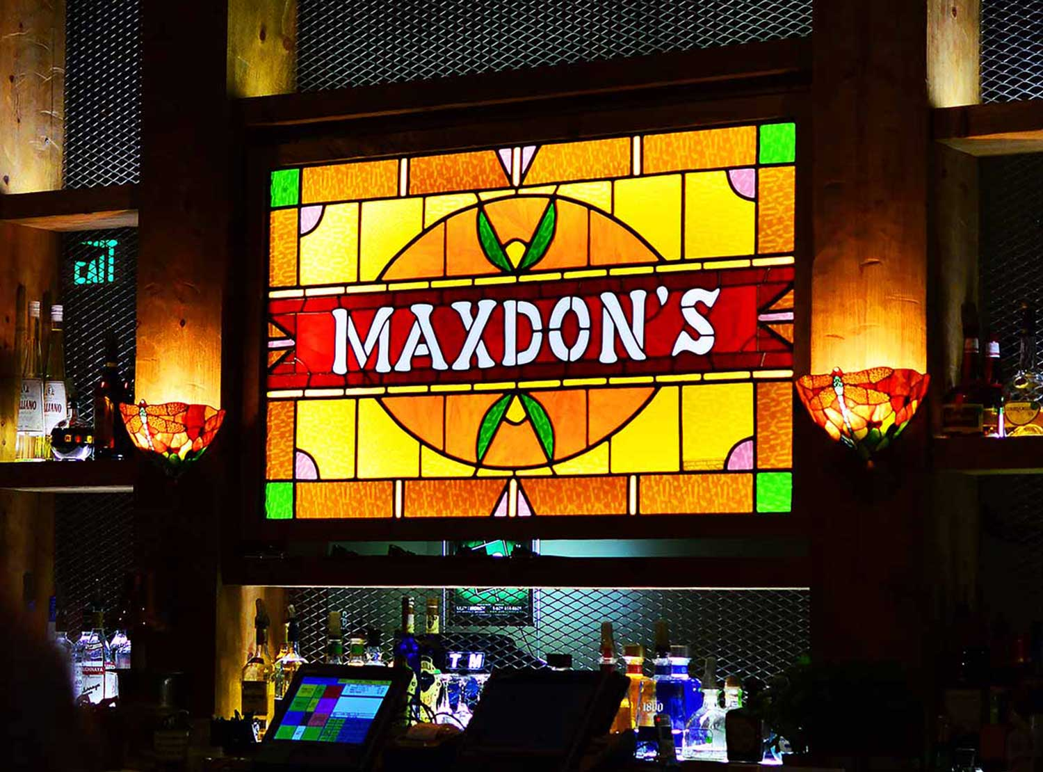 Stained glass Maxdon's sign at the pub in Oceanside, CA.
