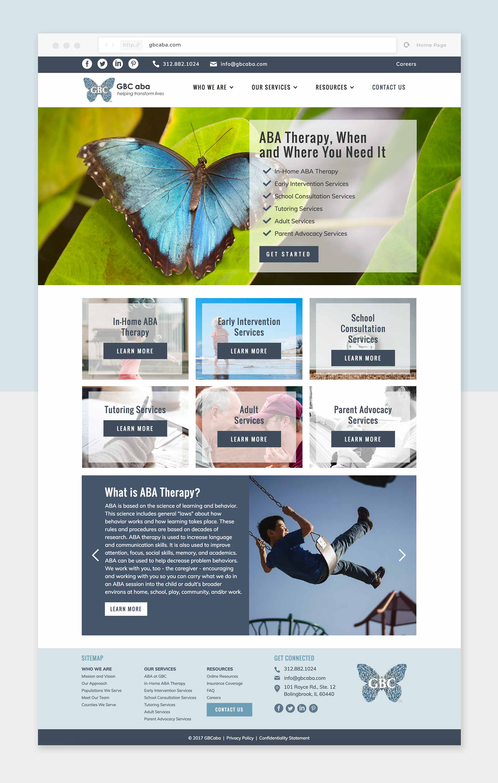 Screenshot of the GBCaba website homepage.