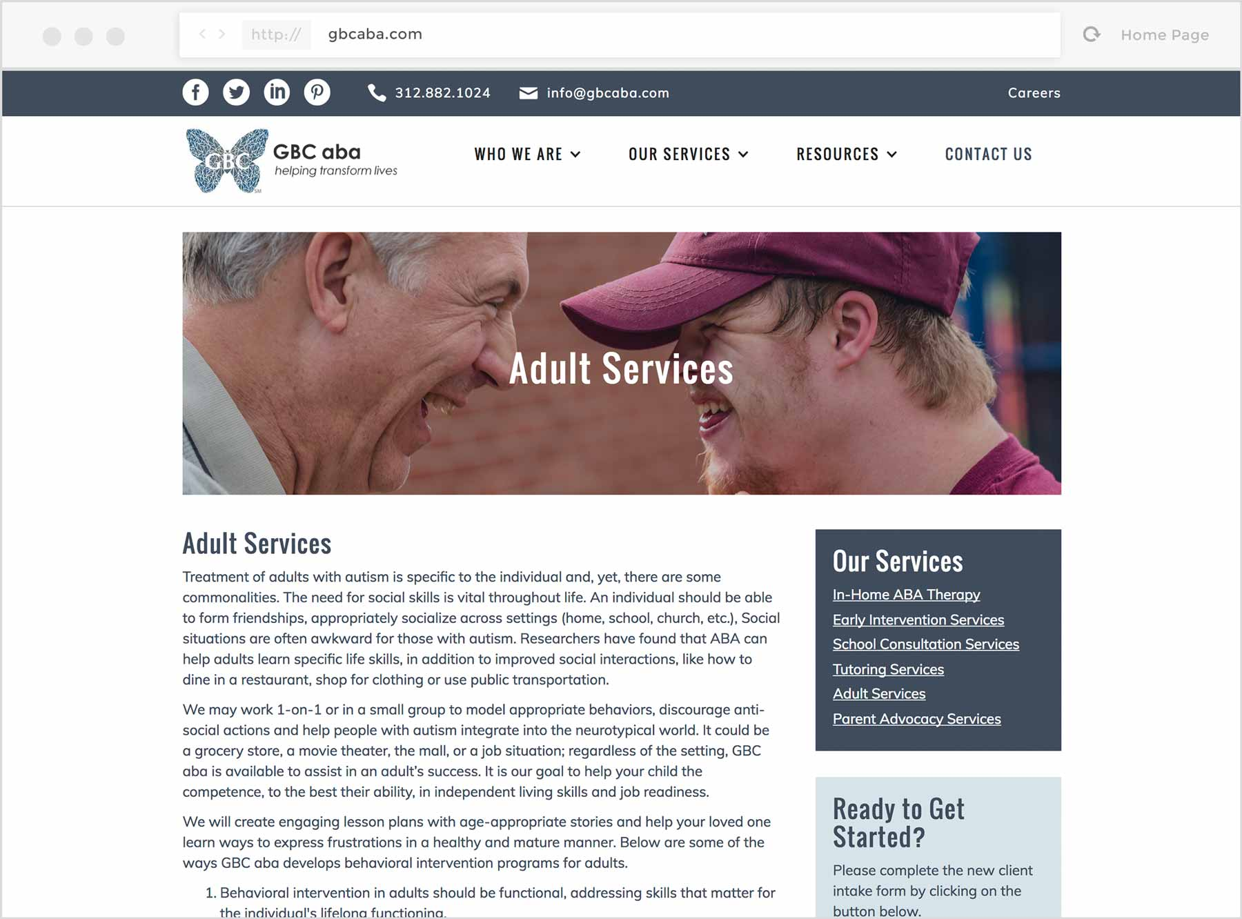 Screenshot of the Adult Services page on the GBCaba website.