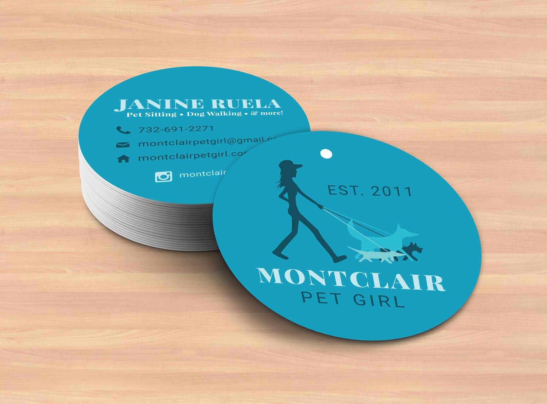 Montclair Pet Girl's circular business cards.