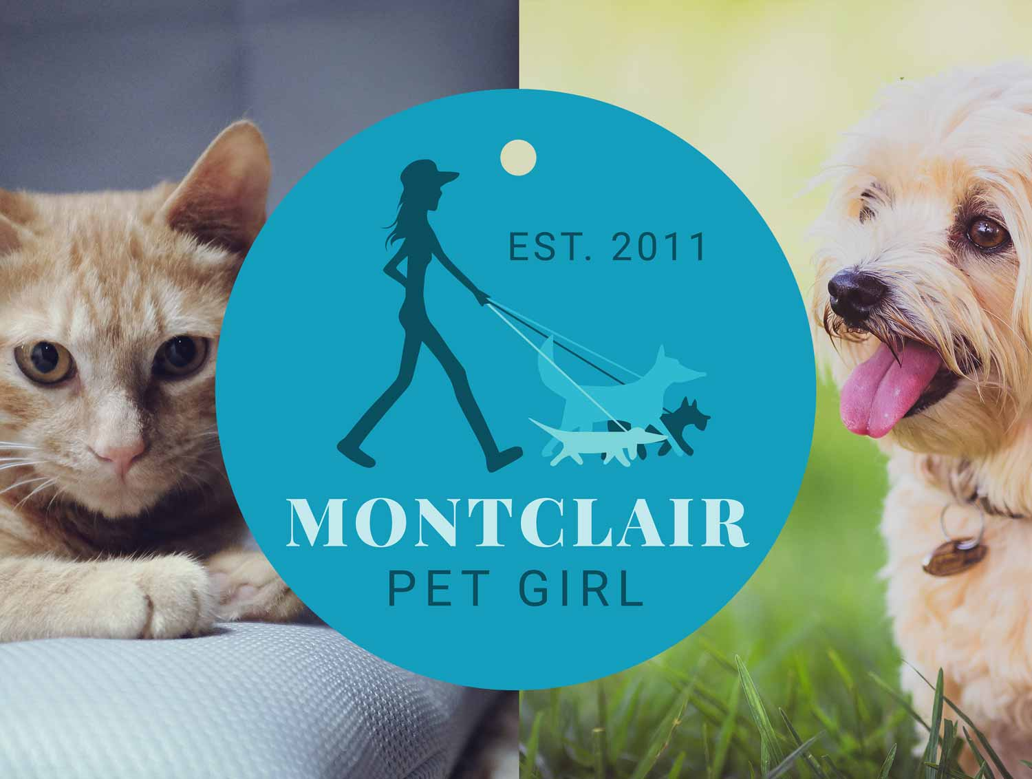 Montclair Pet Girl logo over a photo of a cat and a dog.