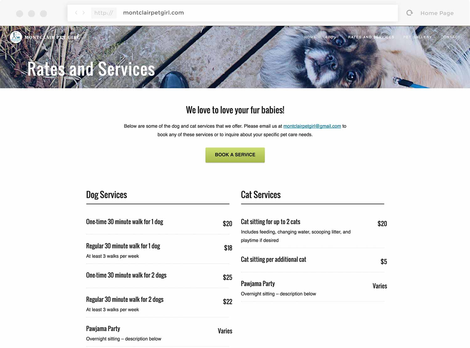 Screenshot of the Rates and Services page on montclairpetgirl.com