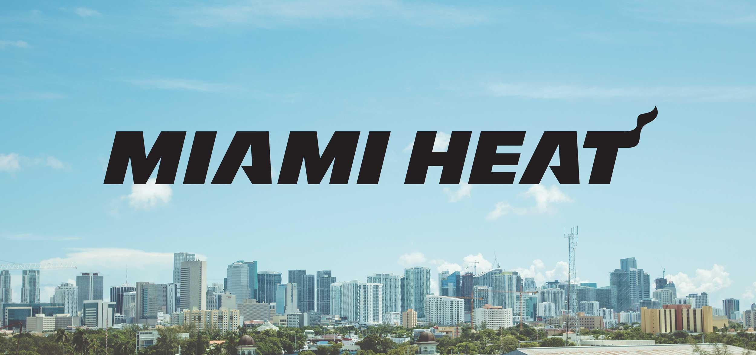 Miami Heat logo over the Miami skyline