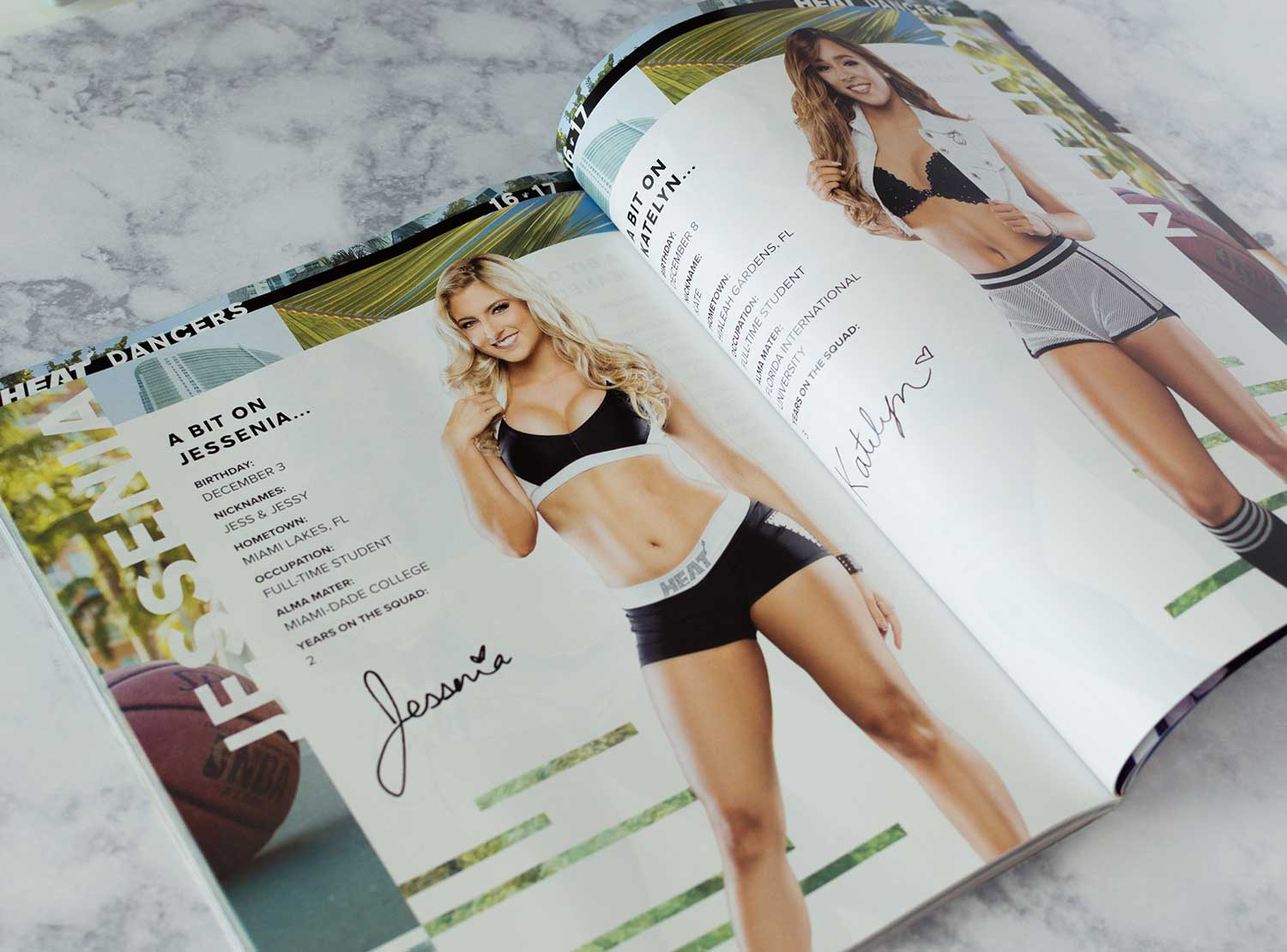 A dancer spread in the 2016-17 Miami Heat Yearbook.