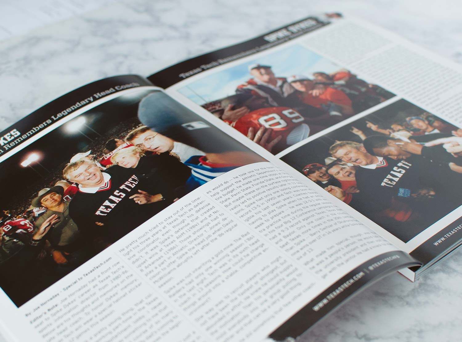 A feature spread in the first edition of the 2017-18 Texas Tech Football Program.