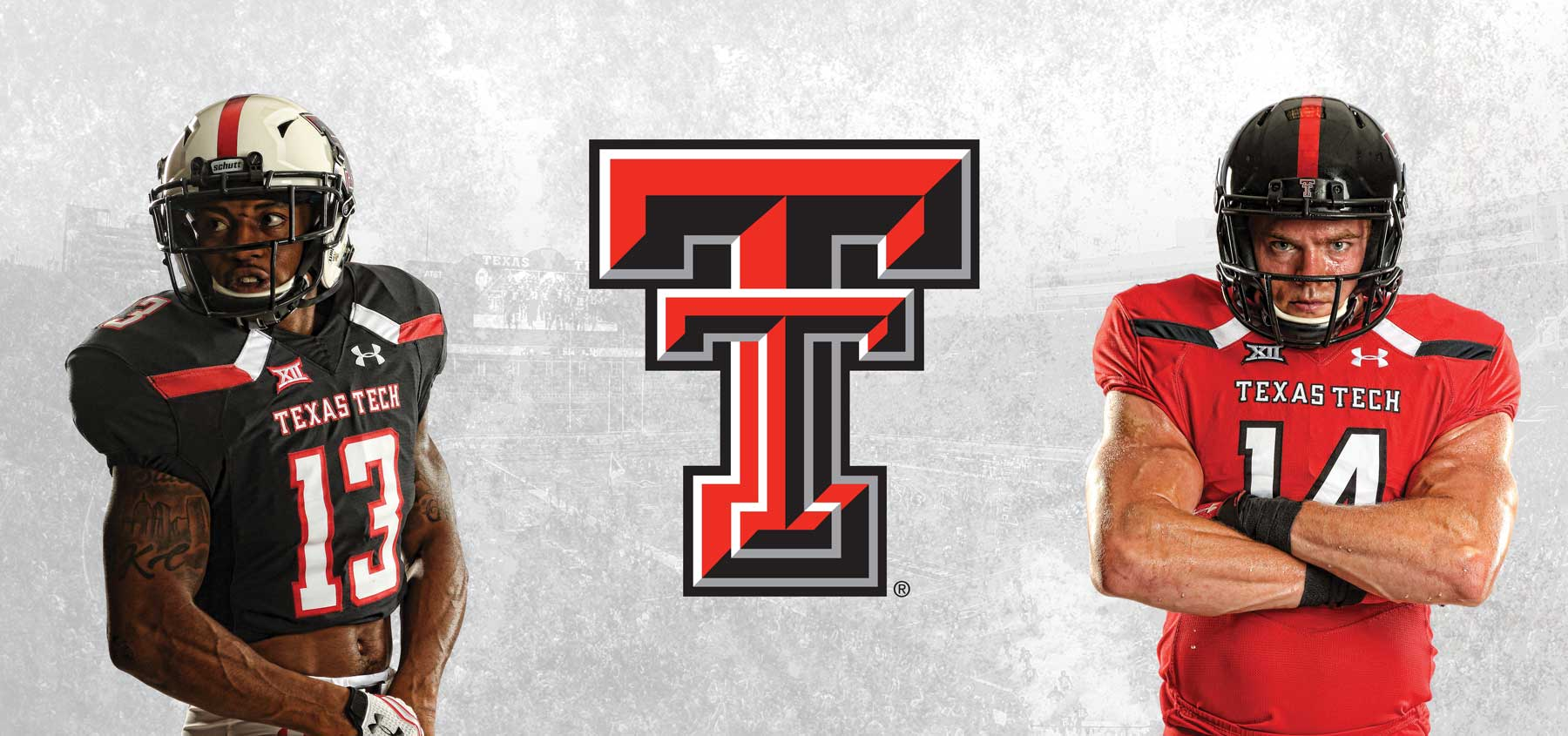 The Texas Tech logo and players
