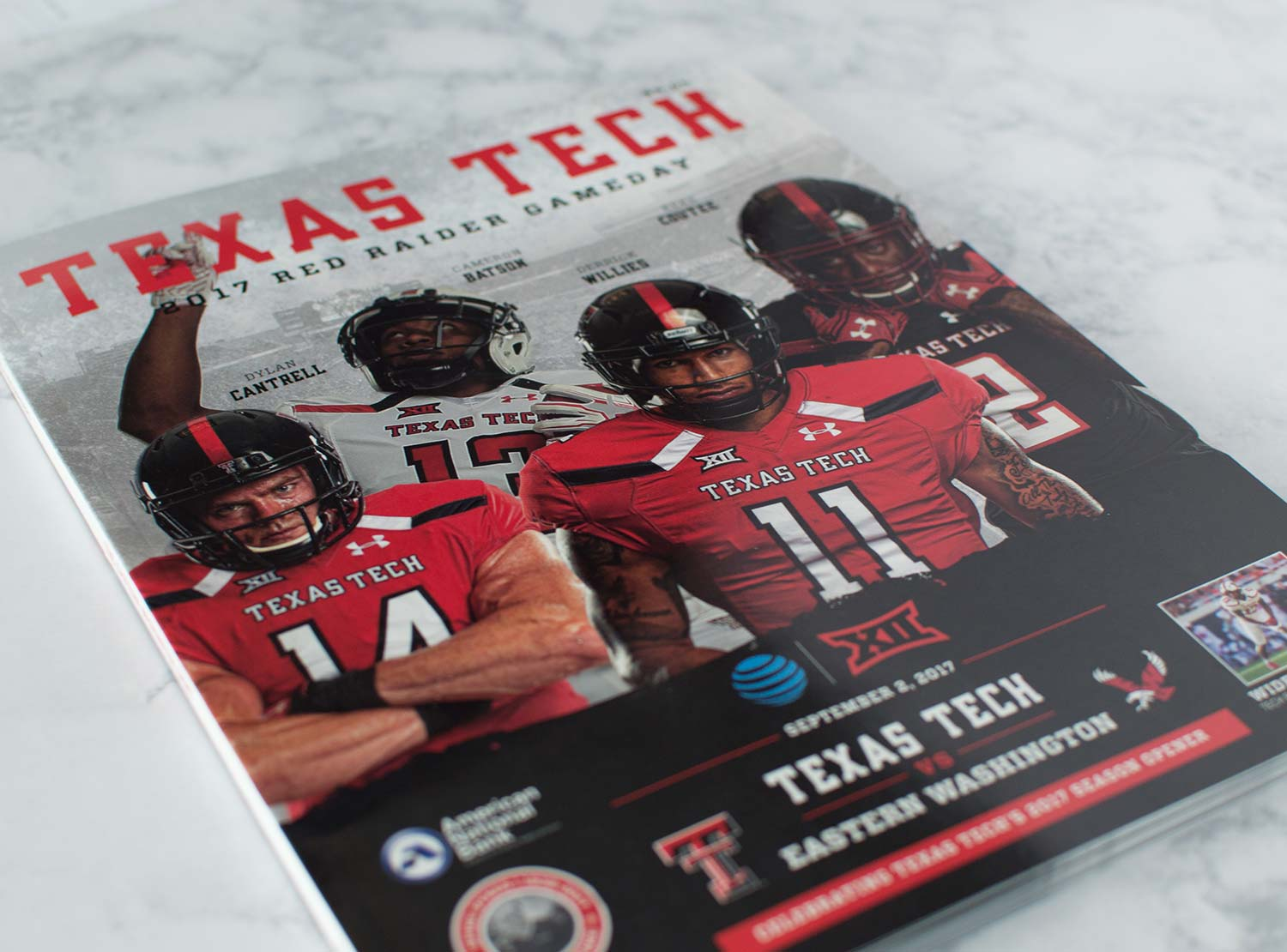 The front cover of the first edition of the 2017-18 Texas Tech Football Program.