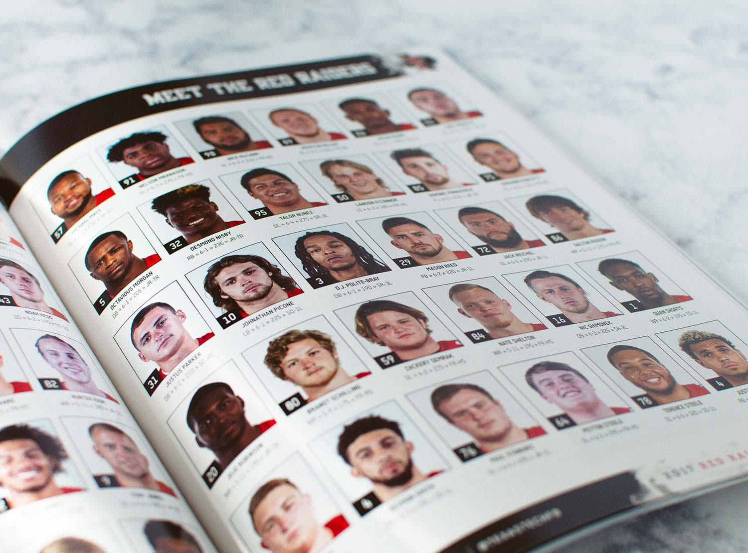 The player headshots spread in the first edition of the 2017-18 Texas Tech Football Program.