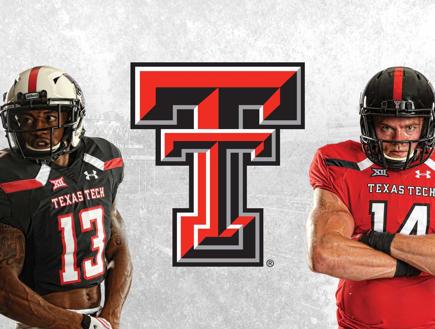 Photo of the Texas Tech logo and players.