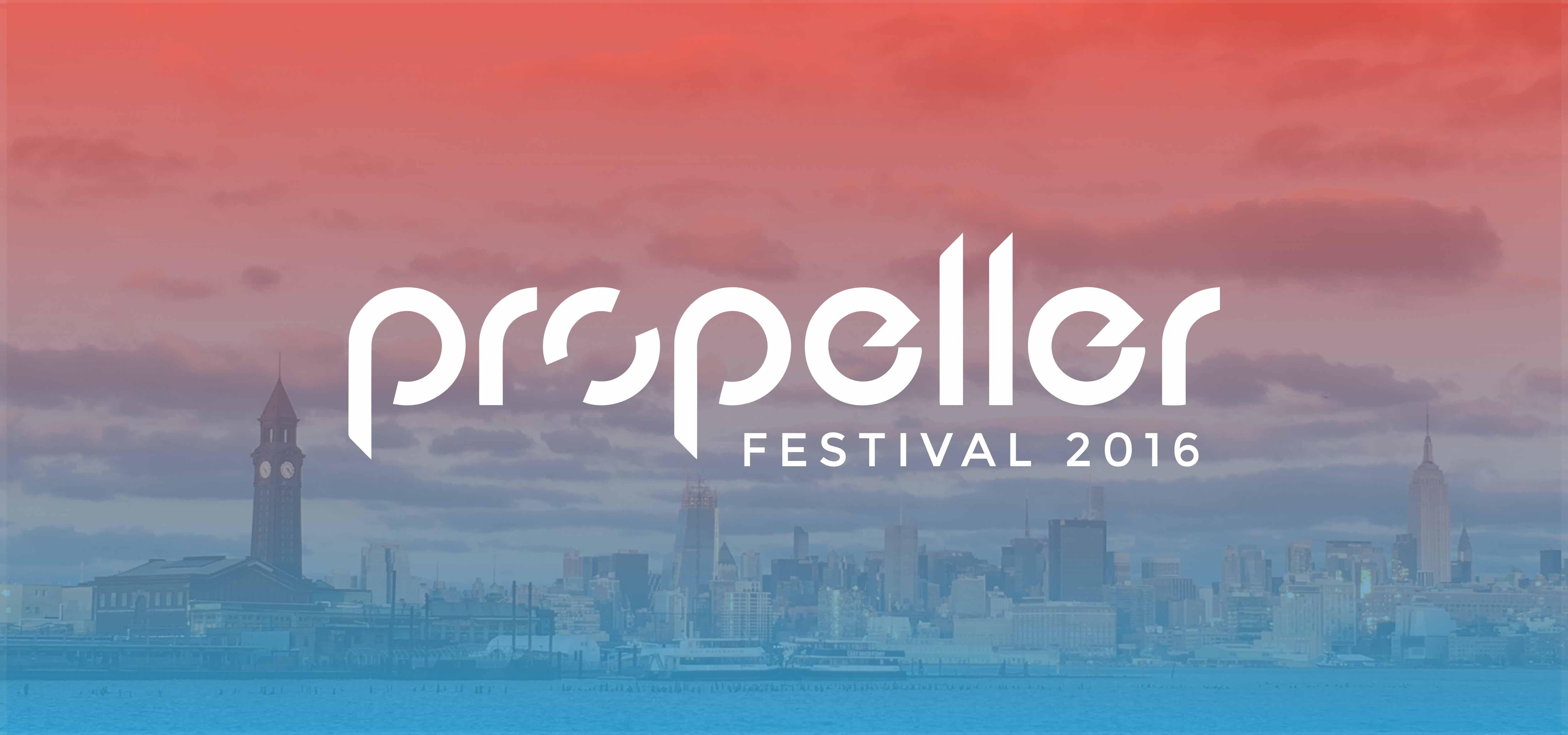Propeller festival logo over a photo of the skyline of Hoboken.