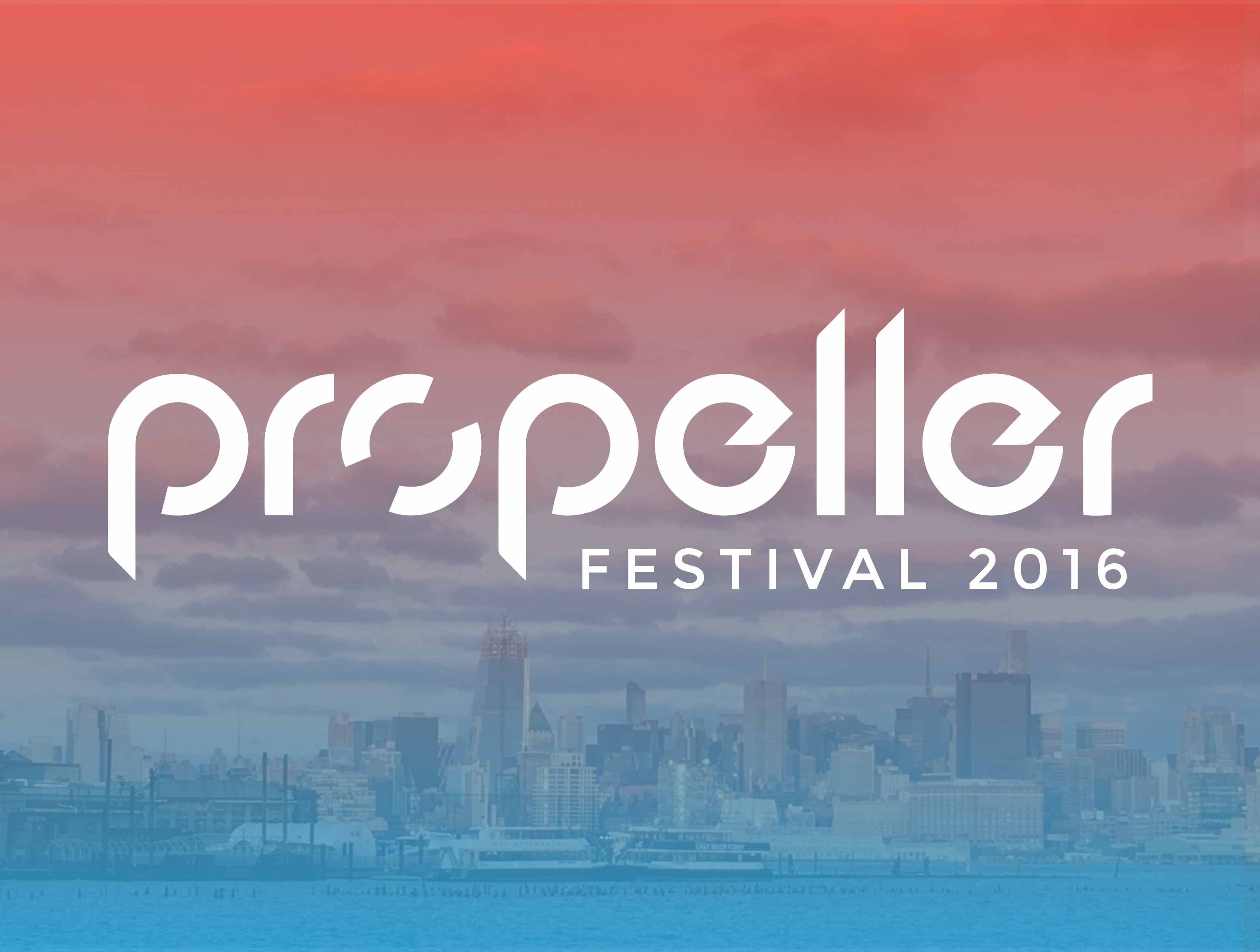Propeller festival logo over a photo of the skyline of Hoboken.