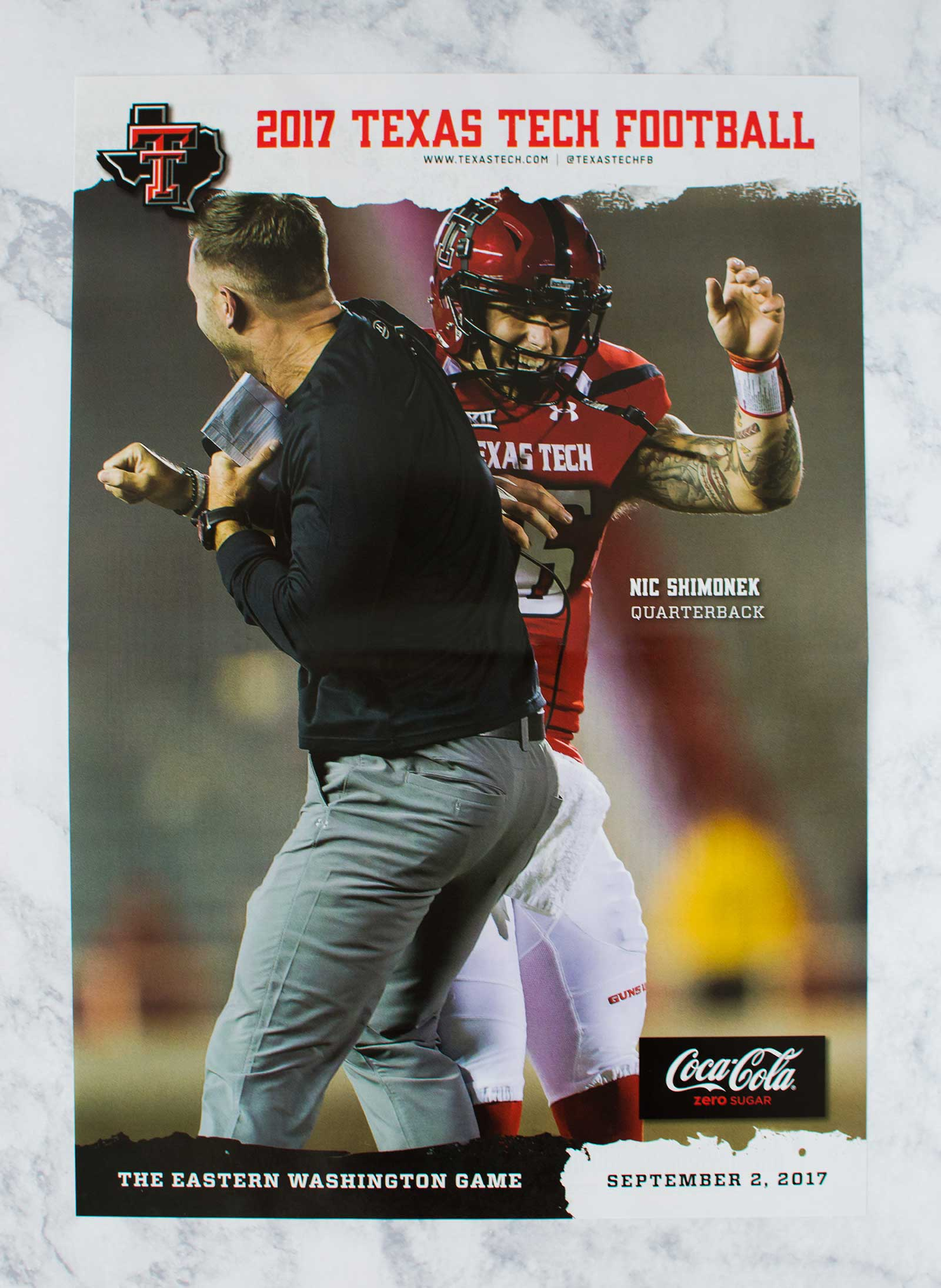 The foldable poster in the first edition of the 2017-18 Texas Tech Football Program.