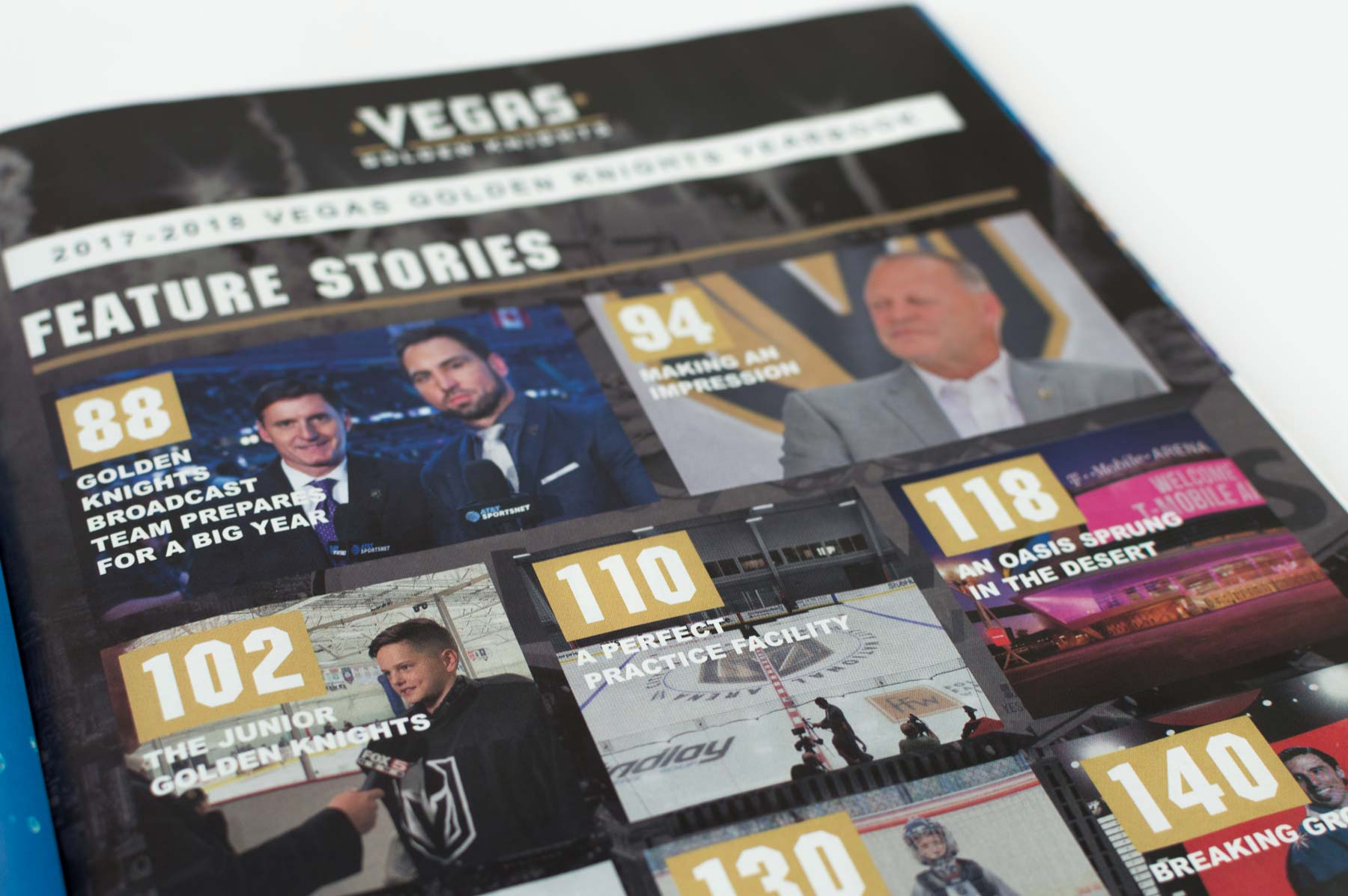 The index page in the 2017-18 Vegas Golden Knights Yearbook.