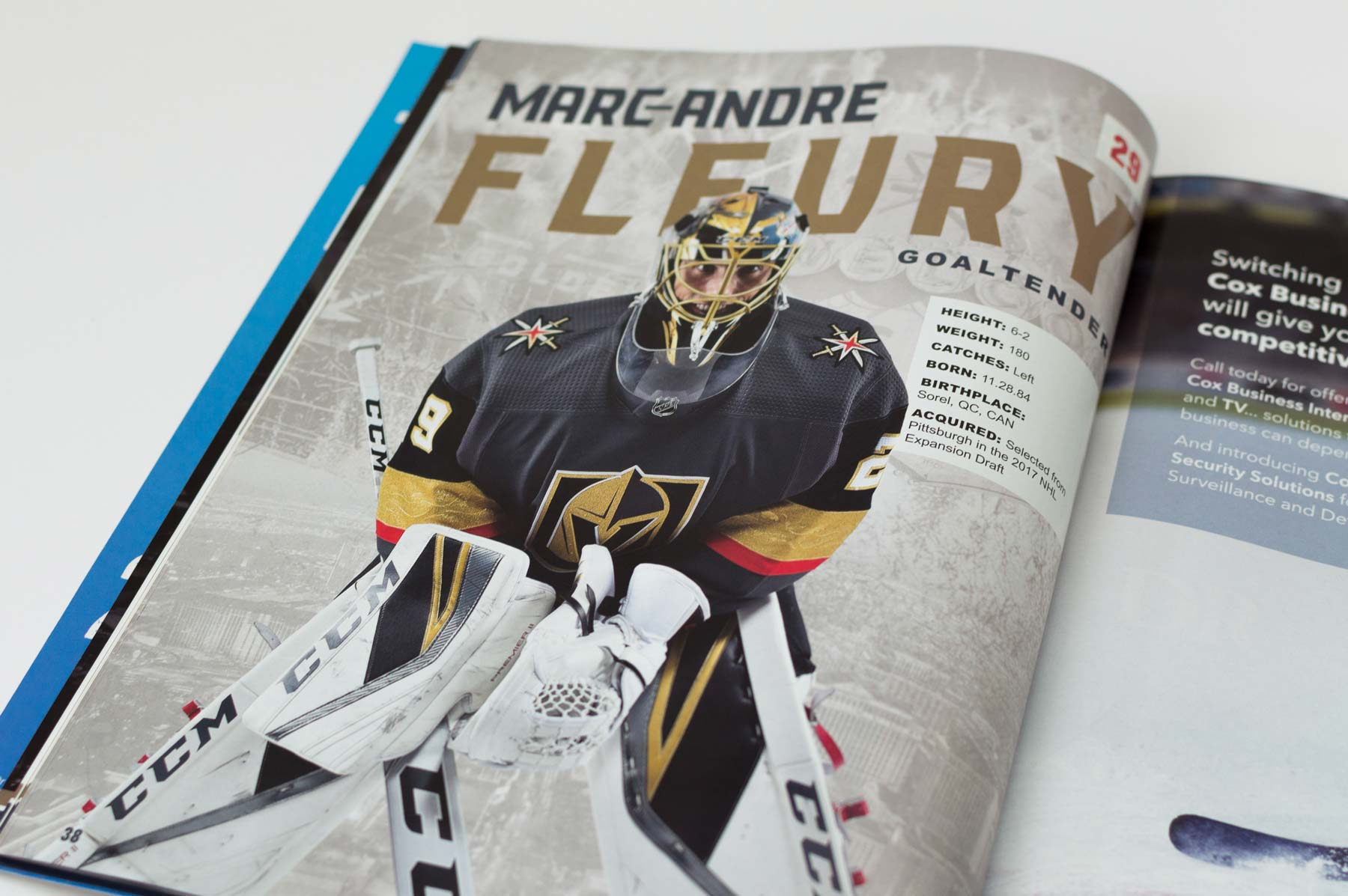 Marc-Andre Fleury's player page in the 2017-18 Vegas Golden Knights Yearbook.