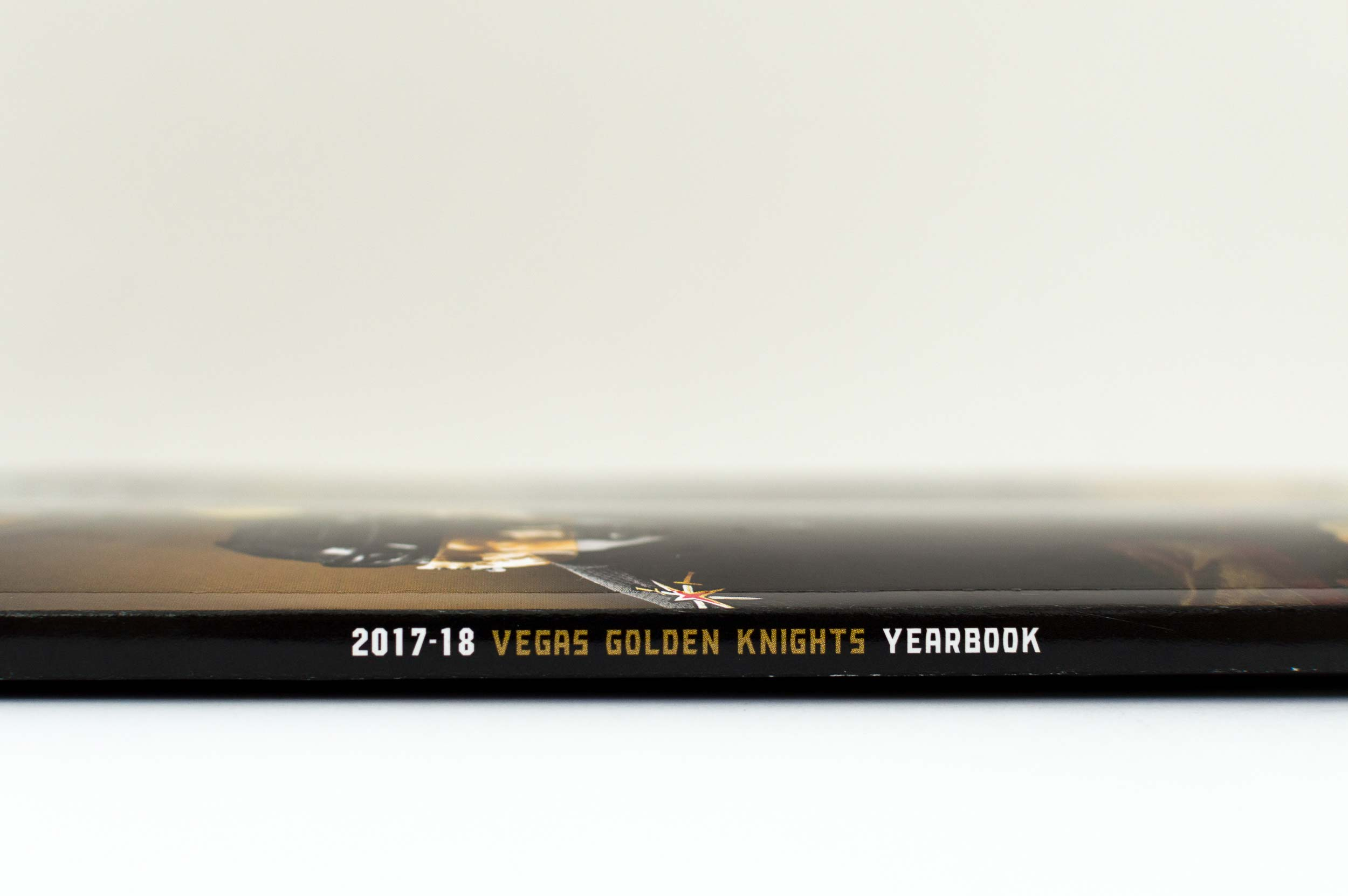 The spine of the 2017-18 Vegas Golden Knights Yearbook.