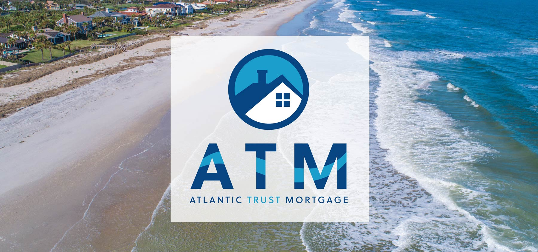 Atlantic Trust Mortgage logo over a photo background of the beach.