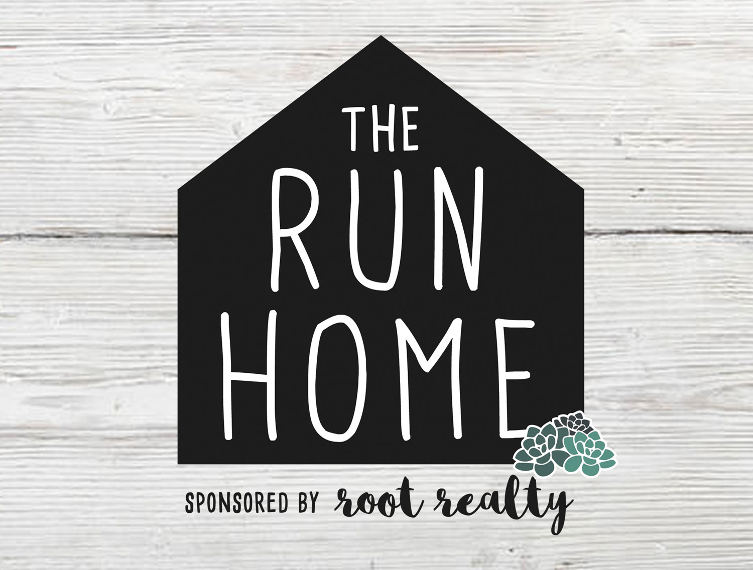 The Run Home 5K logo sponsored by Root Realty in Jacksonville, FL.
