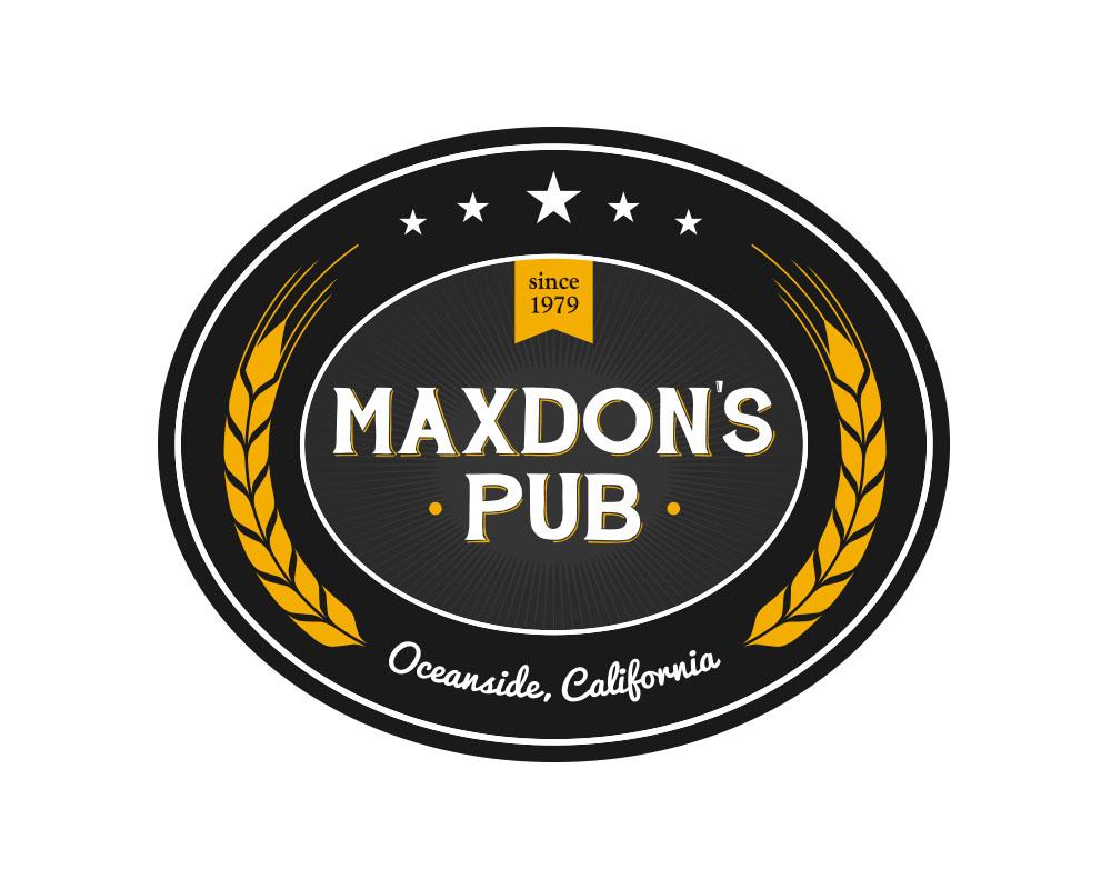 Maxdons Pub logo in Oceanside, CA.